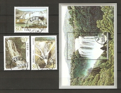 China Volksrepublik (VR) 2001  Mi. 3260-3262 + Bl. 99  (3263)  O/used    Wasserfälle
