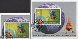 Crew Astronauten Apollo 11 Mondfähre 1971 Ajman 1222+Block 328 O 3€ Raumfahrt-Projekt Bloc S/s NASA Sheet Ms Bf VAE - Space