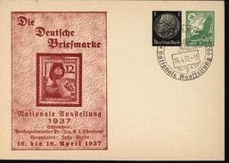 Entier Hindenburg Noir Carte Commémorative Exposition Nationale 1937 Aigle Survole Monde Soleil Levant Fascite Nazi - Briefe U. Dokumente
