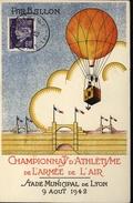 Avion Aviation Athlétisme Armée De L'air Ballon Monté Lyon Guerre 39/45 Coq Chane Et Combat Vignette YT 509 - WW II