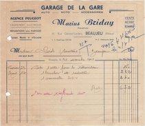 69 BEAUJEU FACTURE 1951 Garage De La Gare Agence PEUGEOT Marius BRIDAY Auto Moto   Z26 - France