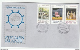 1977  PITCAIRN ISLANDS FDC Stamps ROYAL SILVER JUBILEE  Cover Royalty Boat - Stamps