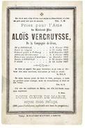 Doodsprentje - Père  ALOÏS VERCRUYSSE - Courtrai 1796 -1867 - Prètre à Fribourg - Missions Amérique - Revenue à Courtrai - Décès