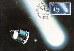 """BRD Maximumkarte """"Halleyscher Komet: GIOTTO-Mission Der ESA"""" Mi 1273 ESSt 13.2.1986 BONN 1 - BRD"""