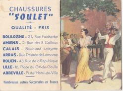 Calendrier 1957 Edité Par Les Chaussures Soulet. Format 12x9. 2 Scans - Calendriers