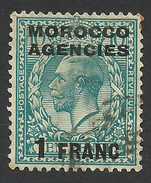 Morocco Agencies, 1 F. 1925, Sc # 418, Used. - Great Britain (former Colonies & Protectorates)