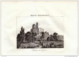 1835 - Gravure Sur Cuivre - Gisors (Eure) - Le Château - FRANCO DE PORT - Stampe & Incisioni