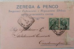SANTA MARGHERITA LIGURE - ZEREGA & PENCO IMPRESARI COSTRUZIONI E RIPARAZIONI EDILIZIE - TESTATINA PUBBLICITARIA 1908 - Genova