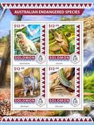 Solomoneilanden / Solomon Islands - Postfris / MNH - Sheet Australische Bedreigde Dieren 2016 - Solomoneilanden (1978-...)