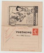 """DEPART 1 EURO - COTE 3000E CARTE LETTRE ANNONCE ENTIER POSTAL 10c SEMEUSE CAMEE SURCHARGEE """"POSTACINQ"""" (MANQUE UNE PAGE) - Entiers Postaux"""
