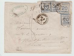 DEPART 1 EURO - 1871 - RARE ENVELOPPE De MULHOUSE Avec CACHET COMMERCIAL De CERNAY (HAUT RHIN) - ALSACE LORRAINE - Postmark Collection (Covers)