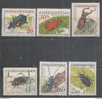 Czechoslovakia 1962. Scott #1144-9 (MNH) Beetles: Ground, Cardinal, Stag, Great Water & Alpine Longicorn * - Tchécoslovaquie