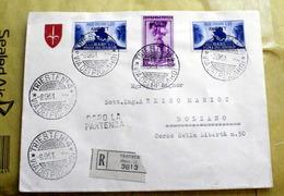 ITALIA , TRIESTE ZONA A, 1951, FIERA DI BARI  SU BUSTA RACCOMANDATA VIAGGIATA - Storia Postale