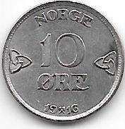 *norway 10 Ore 1916  Km 372  Xf !! - Noruega