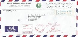 Jordan 1989 Amman Meter Franking Unknown Type Prefix PJ Phosphate Mines Mineral Registered Cover - Jordanie