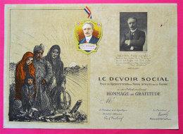 Ww2 Devoir Social Reconstruction Foyers Detruits Par Guerre Hommage Deschanel+ Badge Illustré Steinlen - 1939-45