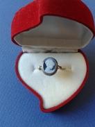 Bague En OR 18ka Ancien Pierre CAMAFEU Bleu Poids- 2.00 - Taille- 14 (54) - Rings