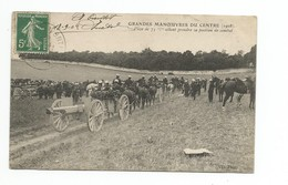 MILITARIA - Grandes Manoeuvres Du Centre (1908 )- Piece De 75 Mm Allant Prendre Position De Combat - Manoeuvres