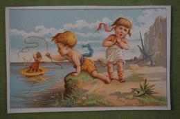 A La Plage - Le Bateau S'en Va - 2 Enfants - Chromos D'Alfred Clarey Vers 1880 - Cromo
