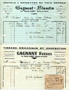 49.MAINE ET LOIRE.LA SALLE-AUBRY.TISSAGE & CONFECTION.COUTILS & GRISETTES.GAGNANT-BLANDIN.2 PIECES. - Textilos & Vestidos