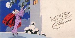 00 - DESSIN - 2 CARTES 11,5x7 Et 11,5x6 / UNE PEINTE  MAIN (Pierrot) L'AUTRE DOUBLE AVEC PAILLETTES ET RUBAN TISSU - Fantaisies