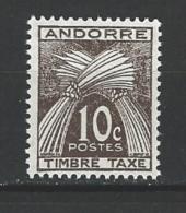 """Andorre Taxe YT 32 """"Gerbe Timbre-taxe 10c. Brun """" 1946 Neuf** - Timbres-taxe"""
