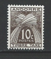 "Andorre Taxe YT 32 ""Gerbe Timbre-taxe 10c. Brun "" 1946 Neuf**"