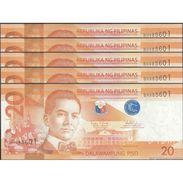 TWN - PHILIPPINES 206k - 20 Piso 2016G - Prefix BH UNC DEALERS LOT X 5 - Philippines
