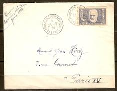 LETTRE 25 AOUT 1938 EXPOSITION PHILATÉLIQUE RENNES POUR PARIS - Y & T N° 383 SEUL SUR LETTRE VICTOR HUGO - 2 Scans - - Postmark Collection (Covers)