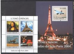 G387 2004 S.TOME E PRINCIPE AVIATION CONCORDE EIFEL MONA LISA PARIS KB+BL MNH - Airplanes