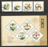 China Volksrepublik (VR) 2001  Mi. 3277-3280 + Bl. 100  O/used    Orchidee: Venusschuh