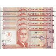 TWN - PHILIPPINES 211A - 50 Piso 2012 - 45th Ann. ASEAN Day - Prefix WK UNC DEALERS LOT X 5 - Philippines