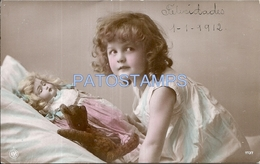 68152 REAL PHOTO GIRL WITH BEAR AND DOLL TOY POSTAL POSTCARD - Cartes Postales