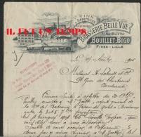 59 LILLE FIVES - BRASSERIE BELLE VUE - BOUILLET BIGO - Vins Et Spiritueux - 27 Aout 1906 + Autographe Propriétaire - France