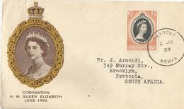 6Mm-903:20 Cents Coronation H.M.QUEEN ELIZABETH :NAIROBI 2 JU 53 KENIA > Brooklyn Pretoria S.A. - Kenya, Uganda & Tanganyika