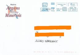 EMA Bal Frad HV 401951 Aude Sur Enveloppe Mairie Argens Minervois Bateau - Marcofilia (sobres)