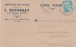 Carte Commerciale  F. DUVERNAY / Articles De Caves / Paille Paillons / 71Mâcon / Saône Et Loire - Cartes