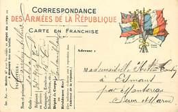 A-17-4593 :  CARTE FRANCHISE MILITAIRE DRAPEAUX. - Marcofilia (sobres)