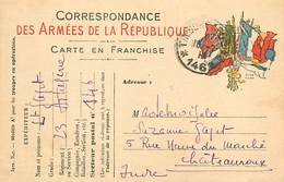 A-17-4594 :  CARTE FRANCHISE MILITAIRE DRAPEAUX. - Marcofilia (sobres)