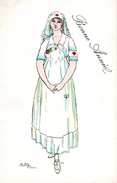 Infirmière Croix-Rouge Dessinée Par Edry / Bonne Année - Health