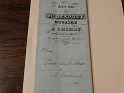 Acte Notarié 24 Mars 1849 ,Me Despret Notaire  à Chimay ,vente Par Dricot à Coulonal D'une Terre Sur Virelles (Chimay) - Manuscrits