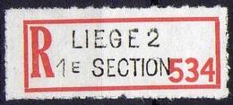Vignette Recommandé Liège 2 1e Section - Documents De La Poste