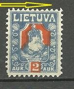 LITAUEN Lithuania 1921 Michel 96 ERROR Abart Variety MNH Swifted Red Print - Litauen