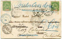 MADAGASCAR CARTE POSTALE DEPART MIARIMARIVO 23 SEP 03 POUR LA FRANCE PUIS REEXPEDIEE A SAIGON PUIS A POULOCONDORE (RARE) - Madagascar (1889-1960)
