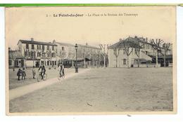 CPA-69-LYON-LE POINT-du-JOUR-LA PLACE ET LA STATION DES TRAMWAYS-ANIMEE-DES ENFANT-2 CYCLISTES-1 TRAMWAY-- - Lyon