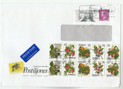 2007 Air Mail SWEDEN COVER  12 X Stamps FRUIT BERRIES FLOWERS Flowers - Sweden