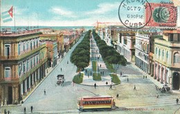 HAVANA PRADO AVENUE LITHOGRAPHIE CHEMIN DE FER TRAMWAY TRANSPORT TRAIN HAVANE CUBA - Cuba
