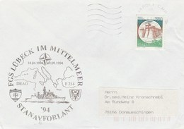 1994 Naples ITALY NATO SHIP COVER German NAVY In MEDITERRANEAN Ship Lubeck ,stamps - NATO