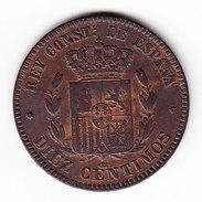 ESPAGNE KM 675 1877 10C AU. (M42) - Monnaies Provinciales