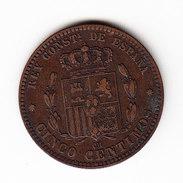 ESPAGNE KM 674 5ct 1877 AU.   (DP68) - Monnaies Provinciales